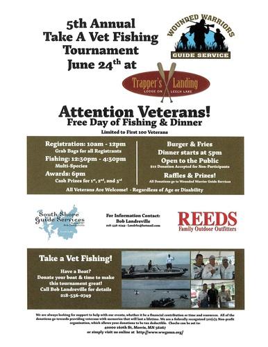 Take a vet fishing tournament jun 24 2017 leech lake for Take a vet fishing