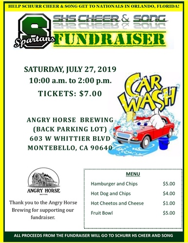 Shs Cheer Song Fundraiser Car Wash At Angry Horse Brewing Jul 27