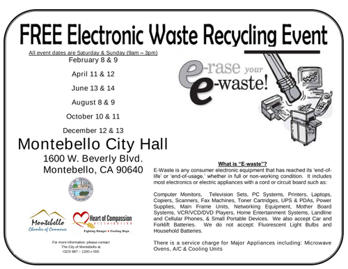 E-Waste Recycling Event (Free)
