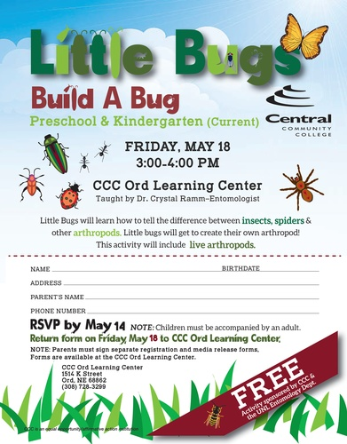 Event Description Little Bugs, currently in preschool or kindergarten, are  invited to attend CCC Ord Learning Center's FREE bug camp. The little bugs  will ...