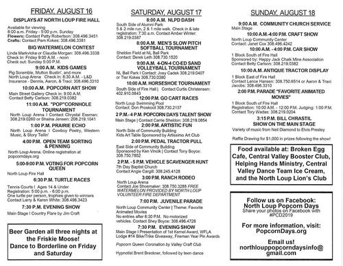 North Loup Popcorn Days - Aug 16, 2019 to Aug 18, 2019 - Ord Nebraska »