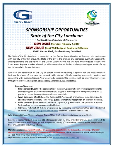 Garden Grove State Of The City Luncheon 2017 Feb 2 2017 Garden Grove Chamber Ca