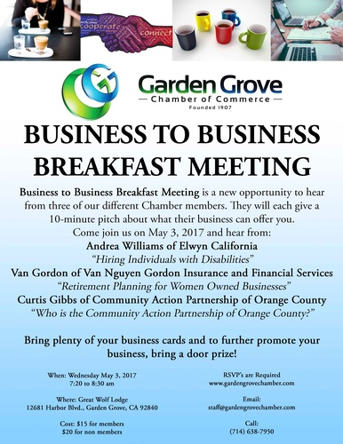 Business To Business Breakfast Meeting May 3 2017 Garden Grove Chamber Ca