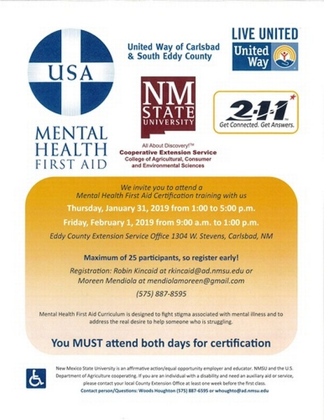 Mental Health First Aid Certification Training Jan 31 2019 To Feb