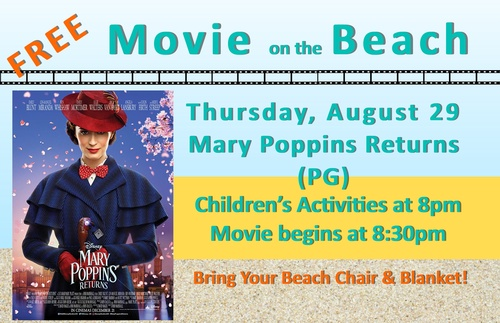 Movies on the Beach Mary Poppins Returns - Aug 29, 2019 - Chamber of