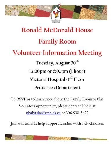 Volunteer information meeting ronald mcdonald family room for Ronald mcdonald family room