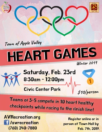 8th Annual Heart Games by Town of Apple Valley @ Civic Center Park