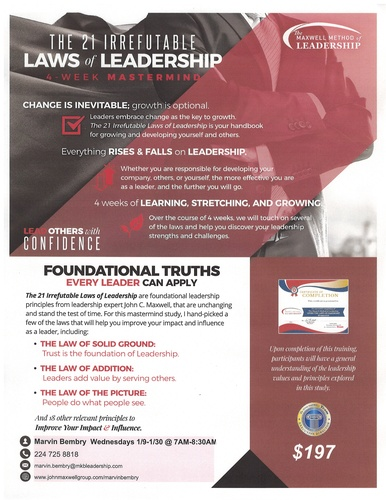 The 21 Irrefutable Laws Of Leadership Event By Marvin Bembry Jan