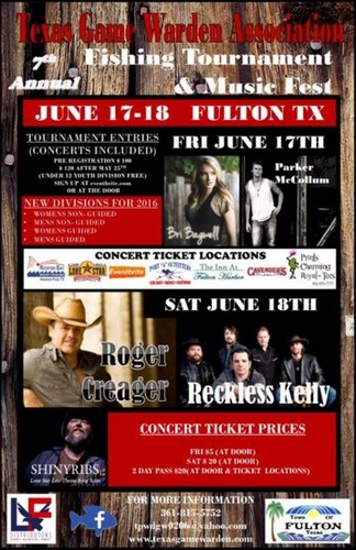 Texas game warden 39 s fishing tournament and concert jun for Texas non game fish