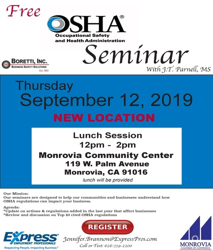 OSHA Seminar with J T  Parnell, MS - Sep 12, 2019