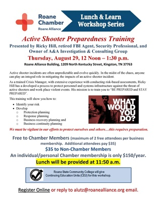 Roane Chamber Lunch & Learn Workshop Series - Active Shooter