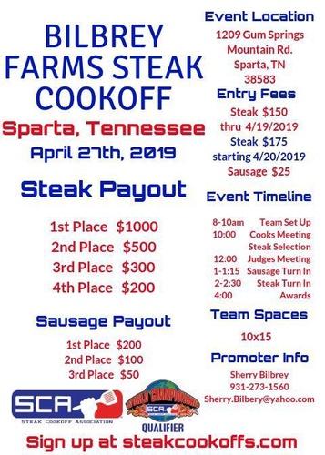 Bilbrey Farms Steak Cookoff Apr 27 2019 Sparta White County Chamber Of Commerce Tn