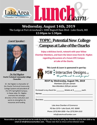 Lunch and Learn hosted by the Lake Area Chamber - Aug 14