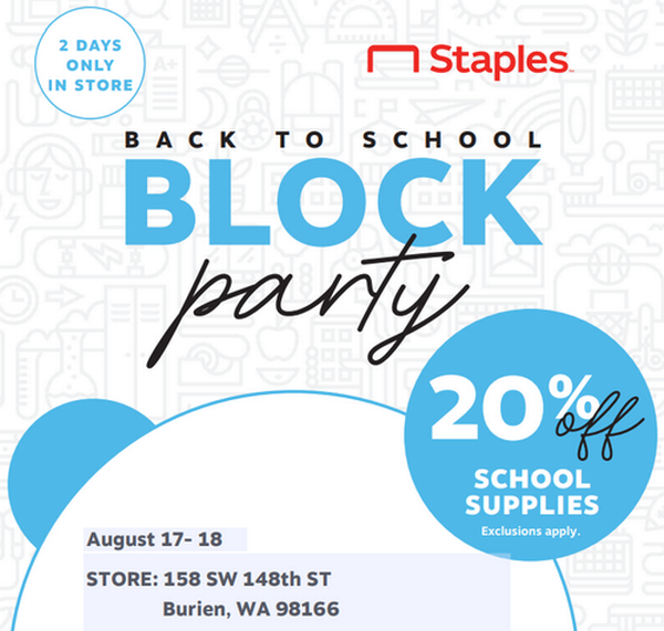 What Time Does Staples Open Today >> Staples Back To School Block Party Aug 17 2019 To Aug 18 2019