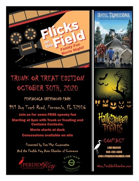 Halloween Pensacola 2020 Flicks on the Field Halloween Edition featuring Hotel Transylvania