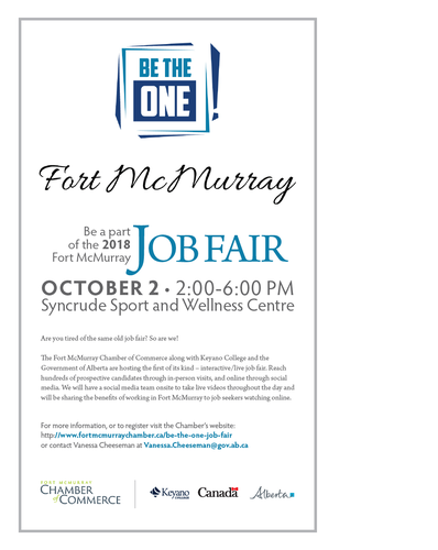 Be the one job fair oct 2 2018 fort mcmurray chamber of event description malvernweather Gallery