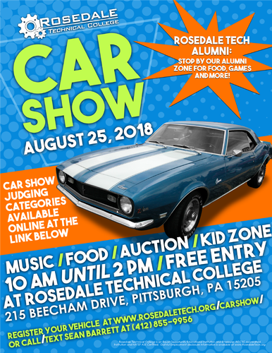 Rosedale Technical College Is Hosting Their Rd Annual Car Show - Car show pittsburgh pa