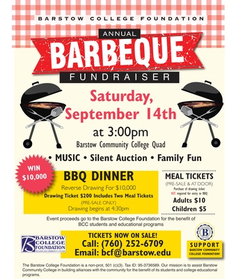 Barstow College Foundation's Annual BBQ Fundraiser - Sep 14