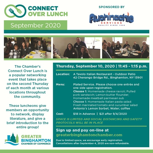 Connect Over Lunch September 2020 Sponsored By Auchinachie Plumbing Heating Air Conditioning Sep 10 2020 Events Greater Binghamton Chamber Of Commerce