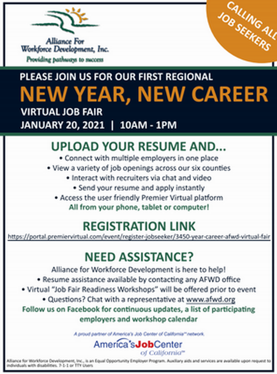 New Year New Career Virtual Job Fair Jan 20 2021 Paradise Ridge Chamber Of Commerce Ca