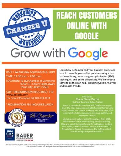 Chamber U Workshop - Grow with Google - Sep 18, 2019 - Texas City