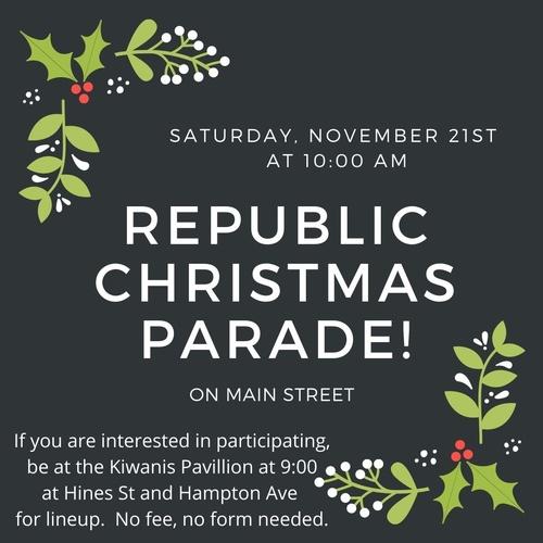 Republic Christmas Parade 2020 Republic Christmas Parade   Nov 21, 2020   Republic Area Chamber