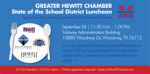 State of the School Disctrict Luncheon with Midway ISD - Sep 26