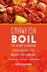 Benchmark's Annual Fat Tuesday Crawfish Boil