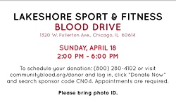 Lakeshore Sport & Fitness Blood Drive