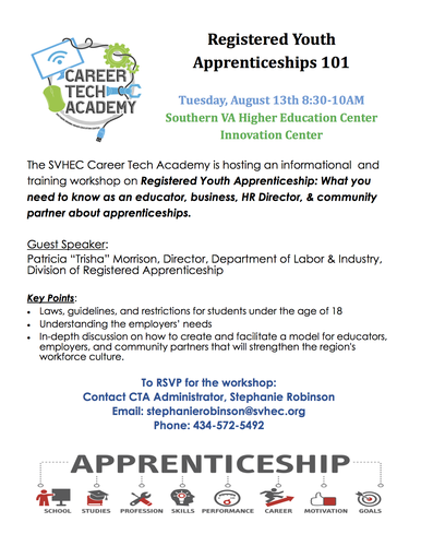 Registered Youth Apprenticeships 101 - Aug 13, 2019 - Halifax County