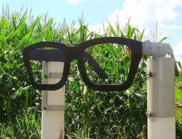 Black rimmed glasses mark the trail head.
