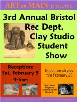 The Annual Bristol Rec Dept Clay Studio Student Show.