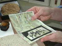 Barbara Ekedahl demonstrating wood block printmaking.