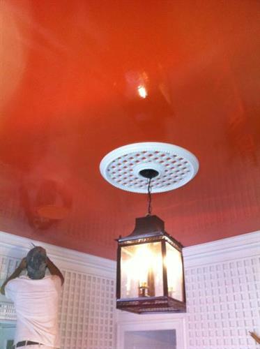 High Gloss Orange Brush Painted Foyer Ceiling