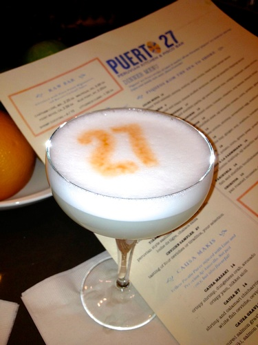 Puerto 27 signature libation, the Pisco Sour, don't let it's petite size full you, this packs a punch!