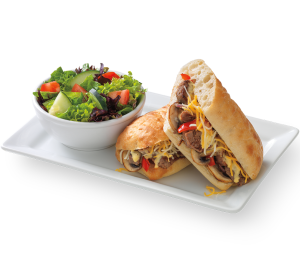 Wisconsin Cheesesteak Sandwich with Salad