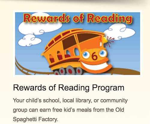 Old Spaghetti Factory San Marcos CA Reading Rewards Program