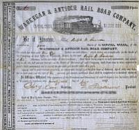 Waukegan-Antioch Railroad Stock Certificate from 1854 owned by one of Antioch's earliest residents, Ralph B. Simmons born in New York in 1829.