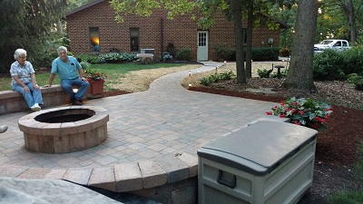 Beautiful hardscapes with a patio and sidewalk.