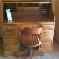 Solid Oak S-Roll Desk w/Chair