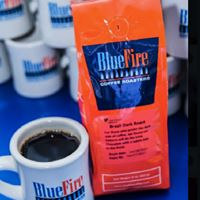 Fresh Brewed Blue Fire Coffee and Mugs!