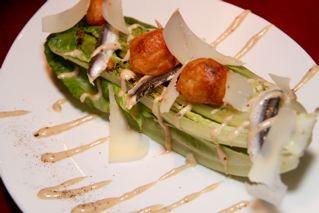 Caesar Grilled Romaine Salad w White Anchovy, Shaved Reggiano