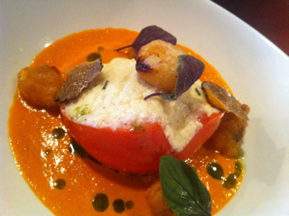 Tomato 3 Way- Smoked Bisque, Ricotta Truffle Stuffed, Cherry Fritto