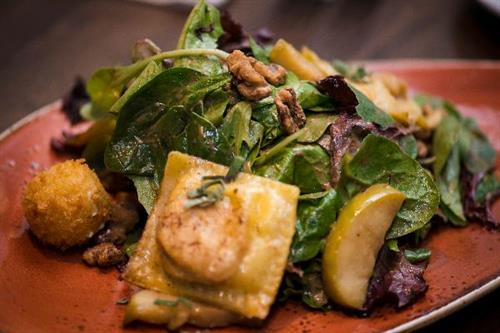 Andiamo's Butternut Squash Ravioli salad. Our Chef's special recipe!