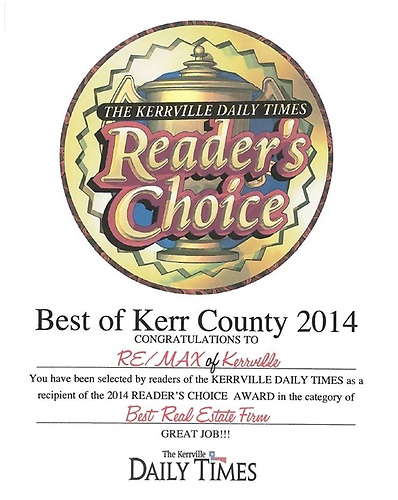 Voted Best Real Estate Firm 2014 by readers of the Kerrville Daily Times