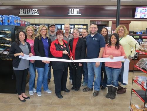 Chamber Ambassadors at a ribbon cutting for the new Casey's General Store.