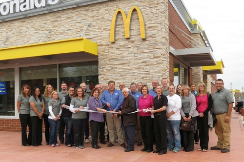 Chamber Board of Directors and Ambassadors welcoming McDonald's to their new location in Mendota.