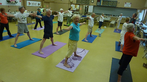 Seniors yoga class