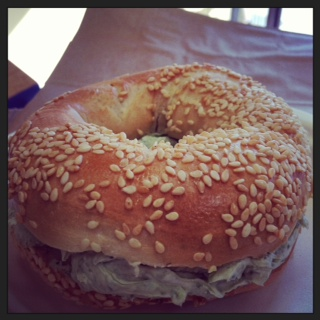 we serve toasted bagels and housemade cream cheeses