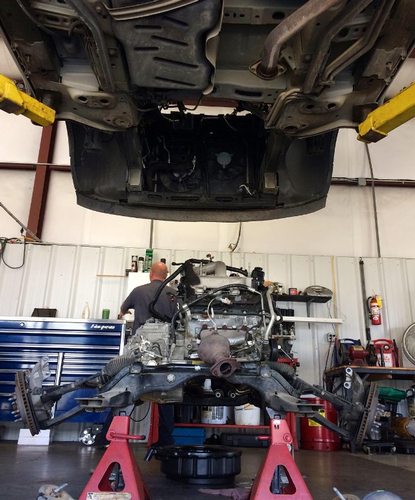 We're a Full Service Repair Shop. Anything from a tire plug to a full engine replacement (seen here) can be done here.